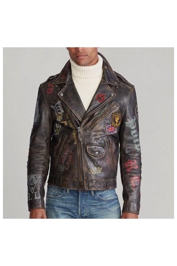 Polo Ralph Lauren Retro leather biker jacket